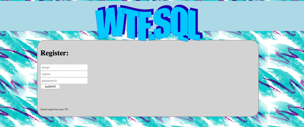 Homepage of wtf.sql